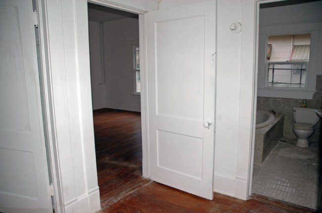 Dining room, middle bedroom and bathroom doors.