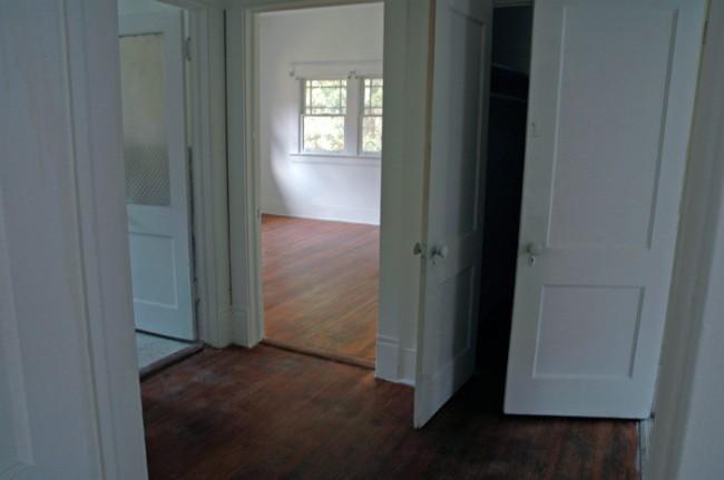 Bathroom, back bedroom, closet and kitchen doors.