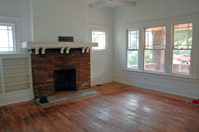 Fire place and front windows.