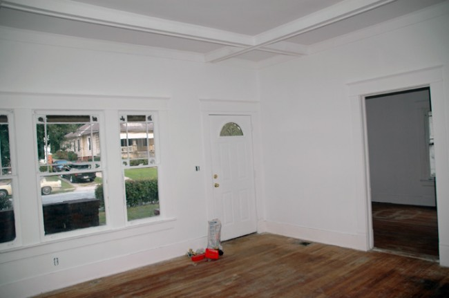 Front door and coffered ceiling.