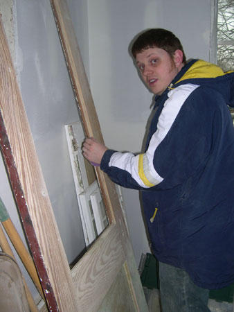 Bathroom door sanding