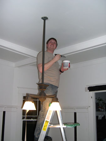 Dining room chandelier patching