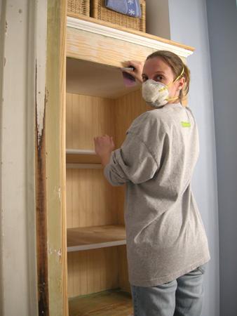 Linen closet sanding