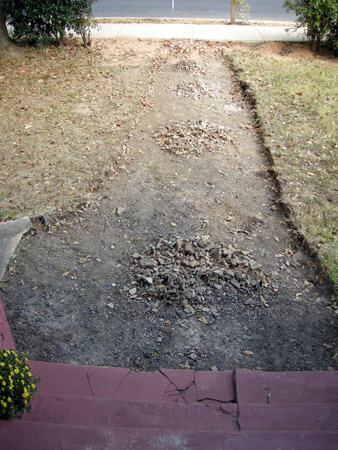 Tearing out front path