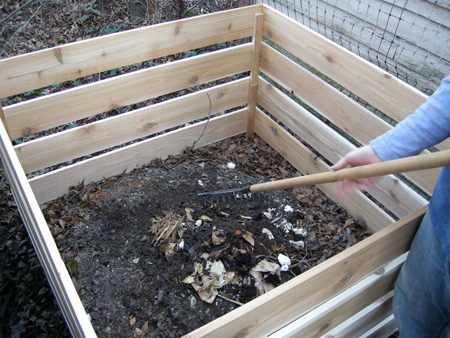 Raking compost