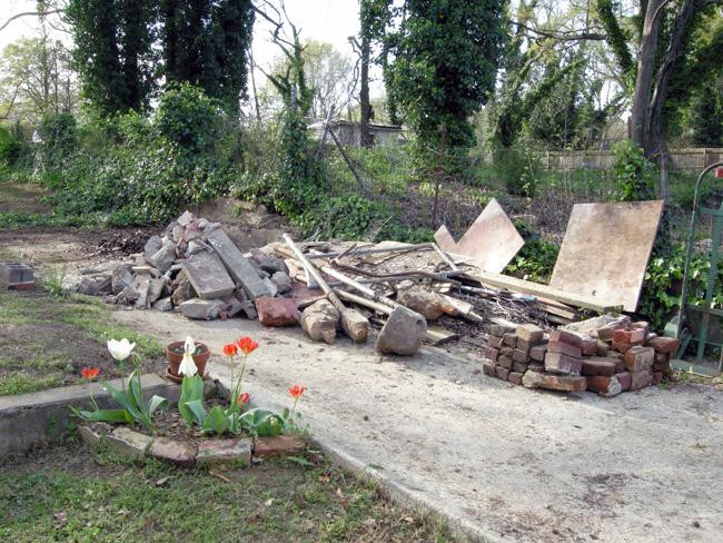 Concrete debris pile