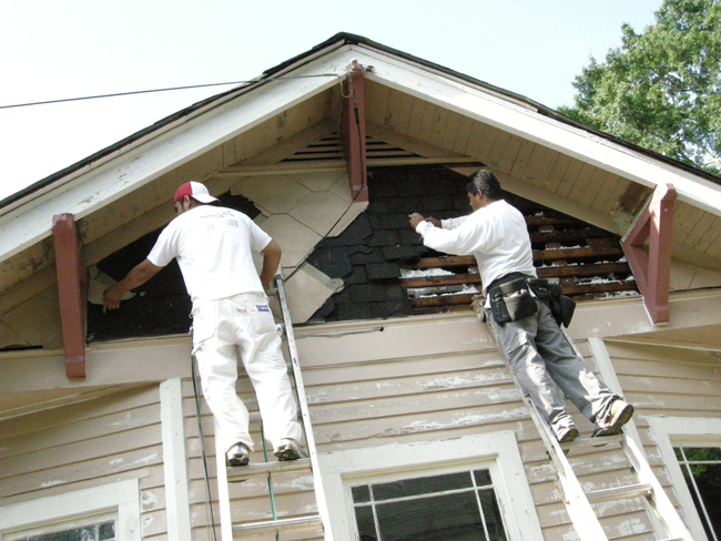Gable shingles removal