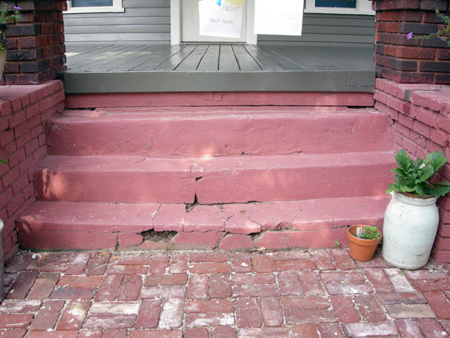Old Exterior entry stairs