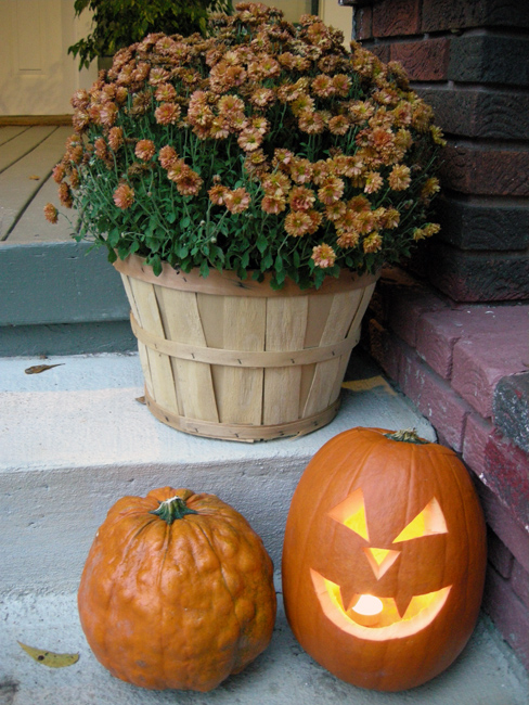 Westview Bungalow Carved Pumpkin and Mums
