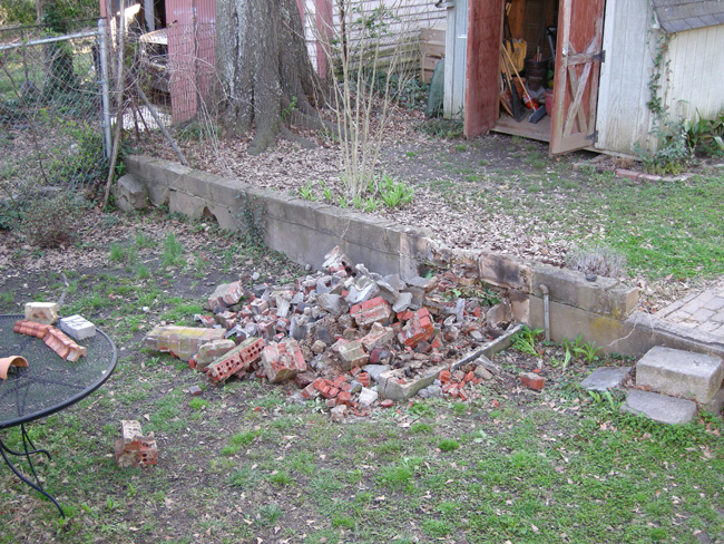Demolished brick grill