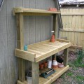 DIY potting bench behind the shed.