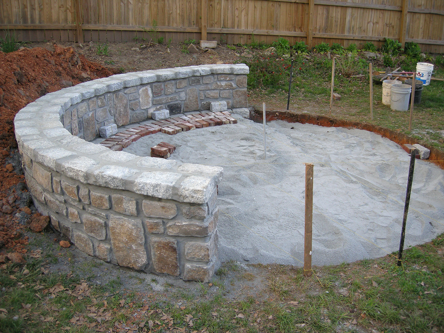 A Ton Of Granite Dust Filled Up The Hole To Create The Foundation For The  Patio. Lots Of Strings And Levels Were Used To Make Sure Everything Was  Nice And ...