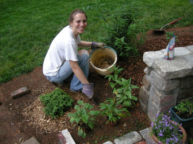 Steffi Planting New Patio Flower Bed