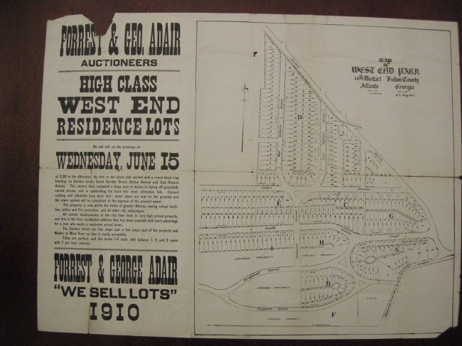 """High Class West End Residence Lots"" from 1910"
