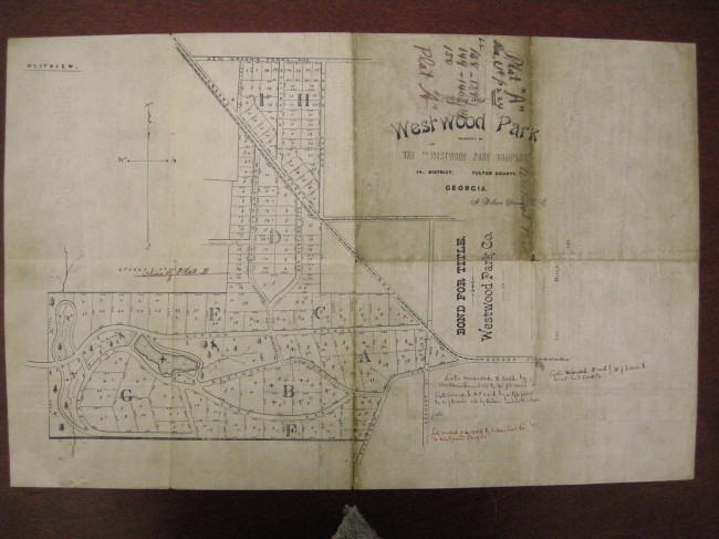The Westwood Park plat map that shows the original planned streets.